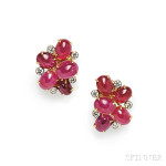 18kt Gold, Ruby, and Diamond Earclips, Aletto Bros.(Lot 166, Estimate $8,000-$10,000)