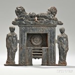 Cast Iron Miniature Figural Fireplace, 19th century (Lot 683, Estimate $200-$300)
