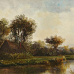 William Henry Hilliard (American, 1836-1905)  Cottage by a River (Lot 1020, Estimate $800-$1,200)