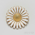 Georg Jensen Vermeil and Enamel Flower Brooch (Lot 1144, Estimate $300-$500)