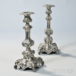 Pair of Polish Rococo-style Silver Shabbat Candlesticks  (Lot 1502, Estimate $400-$600)