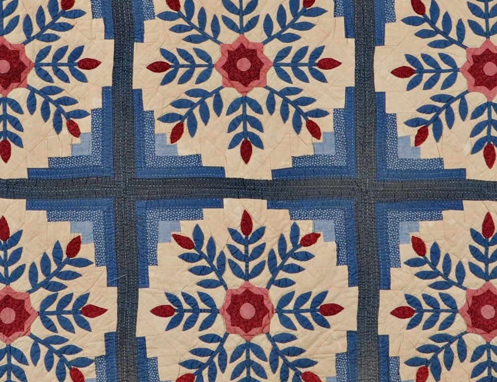 [Detail] Floral Medallion Patchwork Quilt, early 20th century (Lot 123, Estimate $200-$300)