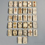 Thirty-two Painted Hide Apache Playing Cards, c. last quarter 19th century (Lot 222, Estimate $8,000-$12,000)