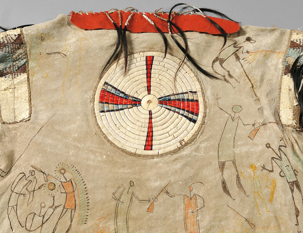 [Detail] Rare and Important Blackfeet Man's Quilled Shirt and Leggings, c. 1830, collected in 1865 by Captain Raymond de Montmorency, third Viscount Frankfort de Montmorency (1835-1902) (Estimate $600,000-800,000)
