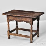 Rare Oak Joined Table with Drawer, Massachusetts, late 17th century (Lot 39, Estimate $30,000-50,000)