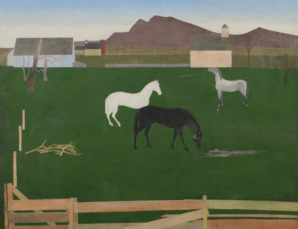 Stefan Hirsch (New York, 1899-1964)  Horses in a Pasture (Lot 343, Estimate $800-1,200)